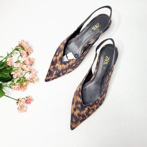 NWT Zara US 6 Slingback Kitten Heel Animal Print